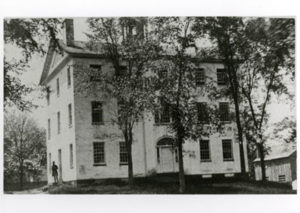 A picture of Amherst Academy when it still stood in Amherst center