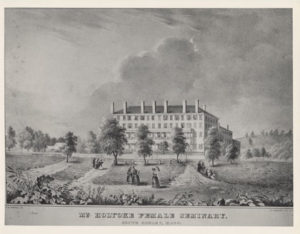 An artist's rendering of Mount Holyoke Women's seminary